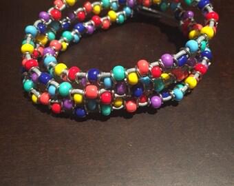 Pride leather beaded wrap bracelet