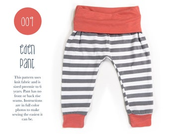 009 Eden Baggy Harem Pants PDF Sewing Pattern Kid Baby Boy Girl Knit Fold Over Waist Preemie- 6T Leggings Sadi & Sam