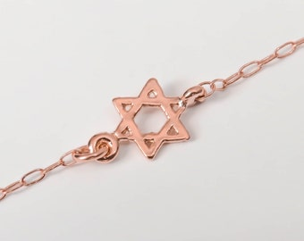 Star of david necklace,tiny rose gold star of david gold necklace, gold necklace, sideways star of david necklace, gold Magen david necklace