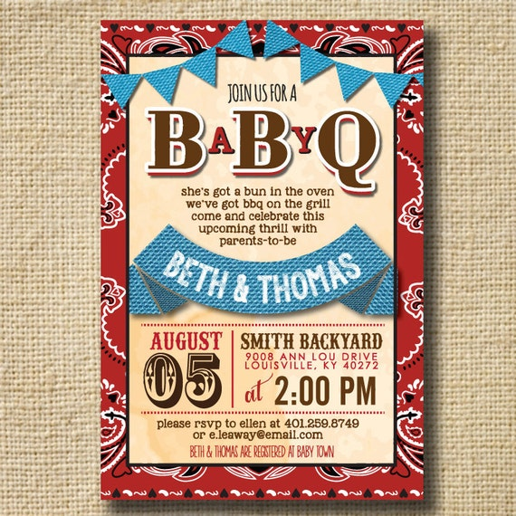 Baby q shower invitation bbq joint baby shower by creativelime for Baby shower bbq decoration ideas