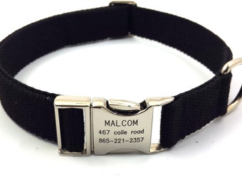 Black Customized Dog Collar  Engraved Buckle Name Address Phone Number Personalized Adjustable Canvas