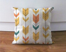 "Yellow feather arrow cushion cover,accent geometric pillow cover,decorative throw pillow case,18""x18""sofa throw pillowcase,housewarming gift"