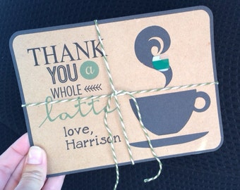 """Thanks a Latte Thank you note gift card holders! Personalize the name and colors! Shown: """"starbucks"""" colors! Great teacher gift! Set of 2!"""