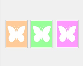 Butterfly Nursery Art - Baby Girl Nursery Wall Art - Peach Green Pink Nursery Print - Butterfly Nursery Decor Girl Nursery Print - Pick Size