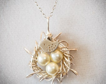 White pearl messy Nest, Silver Nest with custom egg count, Sterling silver chain