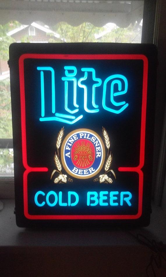 Vintage Miller Lite Cold Beer Lighted Bar Sign by Stillhaslife