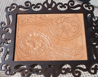 Hand Carved leather wall art