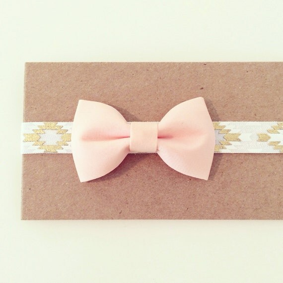 White Aztec + Peach Bow Headband | White, Gold + Peach Elastic Headband for Baby Toddlers Girls, Light Peach White Gold Aztec Bow Headband