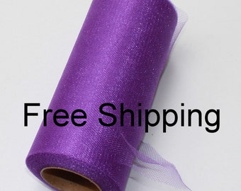 Shimmer tulle roll - 6 inches - 25 yards - Shimmer Tulle Spool Purple -Purple Shimmer tulle spool - roll of shimmer tulle Purple