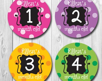 Personalized Monthly Baby Stickers, Polka Dot Milestone, Months 1-12, Baby Name Stickers Girl, Baby Photo Sticker, photo prop