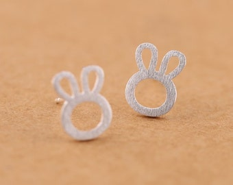 Free shipping: sterling silver bunny, rabbit earring