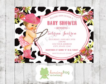 antique cowgirl baby shower invitation printed vintage baby shower