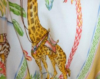 Vtg Tropical Tiki Resort Cruise Lounging Giraffe Palm Tree Lounging Robe Flo Weinberg MINTY!