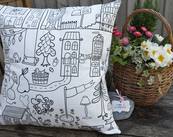 """Childrens Colouring Cushion - Large 18"""" x 18"""" includes inner cushion"""