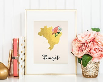 Brazil Map Brazil Art Brazil Poster Brazil Print Brazil Printable Brazil Postcard Printable map art Country Maps Brazil Map Poster