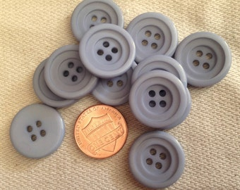 """Lot of 12 Dusty Blue Tiered Front Plastic Buttons 3/4"""" 19mm # 7103"""
