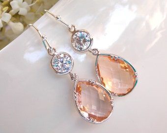 Wedding Jewelry, Cubic Zirconia and Peach Earrings, Bridesmaids Jewelry,Champagne,Blush,Silver Earrings, Mother's Gift, Dangle Drop,Teardrop