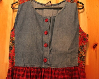 Patchwork Flannel Denim Babydoll Dress 90s Grunge