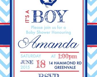 Baby boy baby shower invite -  Sailor Nautical beach theme