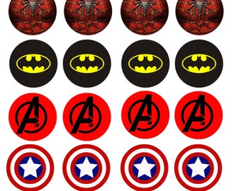 EDIBLE highest quality SUPERHERO cupcake toppers - Customs orders welcome!