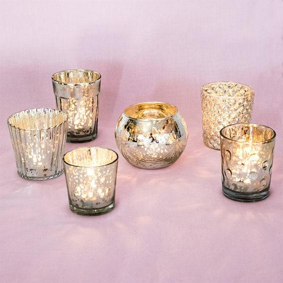 Set Of Six 6 Antique Mercury Glass Votives Candle By