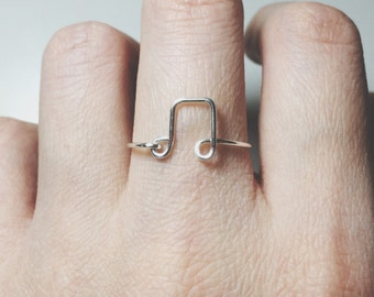 Treble clef ring/sterling silver ring/note ring/music ring/gold ring/stacking ring/wire ring/wire wrap/wire jewelry/music teacher gift/piano