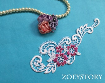 White with Fuschia Lace,  White Lace Applique, Venise Necklace Material, DIY Project Applique Sell By Piece (A007)