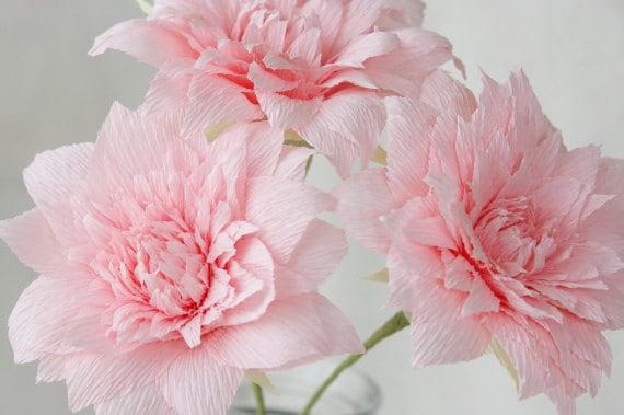 3 pink crepe paper dahlias paper dahlia dahlia for wedding