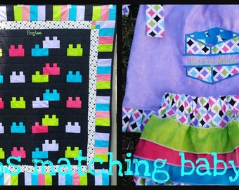 LEGOS MATCHING BABY set/quilt/diaper bag/pillowcase dress/bloomers/personalized/pick your colors/handmade/custom made/baby gift/shower gift