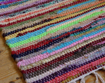 Hand Made Random Stripy Rainbow colour Fabric Rag Rug Recycled Boho Hippy Glamping Shabby Chic Traditional Upcycled Scandi 100 x 165cm