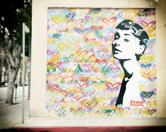 Love, Hearts, Los Angeles Photography, Street Art, Audrey Hepburn, Graffiti, Hollywood, Fine Art Print, Home Decor, Wall Art, Valentines