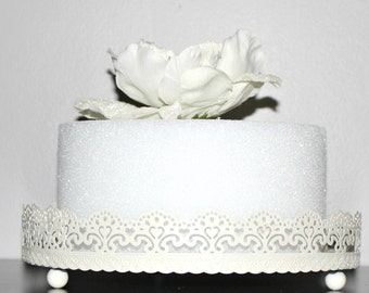 "Ivory White Lace Cake Stand 12"" Wedding, Bridal, Birthday, Cupcake Display  Gold!!"
