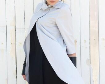 Soft Grey Asymmetric Shirt / Short Sleeve Casual Top / Loose Tunic Top with Collar by METAMORPHOZA