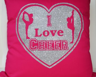 Cheerleading cushion cover - I Love Cheer cushion cover, Cheer pillowcase, cheerleader pillow, cheerleading accessories, cheer pillow pink