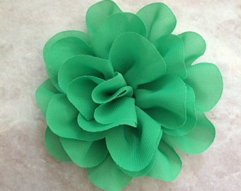 Chiffon flower, large flower, green flower, lace flower, flower puff, flower supplies, DIY supplies,