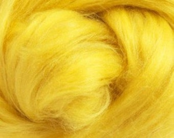 Tussah Silk (Top) Sliver - Sunshine (Yellow) - 1oz or .5oz