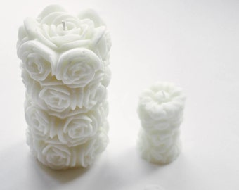 Large Rose Pillar Candle, Wedding Candle, Table Candle, Fragrance Free Candle, Unscented Candle, Floral Candle, Large Pillar Candle
