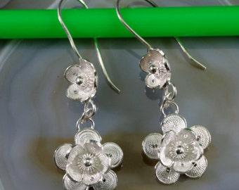 Flower earrings 925 sterling silver  --  4902