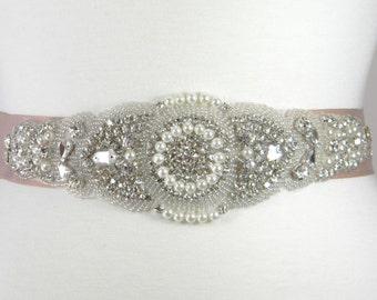 Champagne Bridal Belt, Bridal Sash, Wedding Belt, Sash Belt, Crystal Rhinestone and Pearl Wedding Dress Belt, Bridal Sash - CHARLOTTE