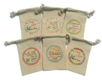 Religious Bible Verses Set of 6 Muslin 4x6 Just Because Friendship, Anytime Gift Bags: Be Still Psalm & John Pray More Wedding Shower Favors