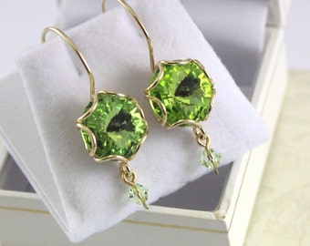Gold Earrings , Green Crystal Earrings , Gold Filled 14k Earrings  , Fashion Jewelry, Bridesmaid Gift