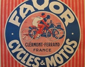 1930s French Vintage Poster, Bicycle Art, Favor Cycles & Motos - Jean Pruniere, Square Gifts for Cyclists