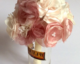 Pink wedding bouquet of handmade fabric flowers, alternative bridal or bridesmaids bouquet or posies, by Blue Lily Magnolia