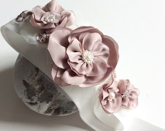 Bridal sash with dusty pink flowers and freshwater pearls, modern wedding - by Blue Lily Magnolia, bridal or bridesmaid sash