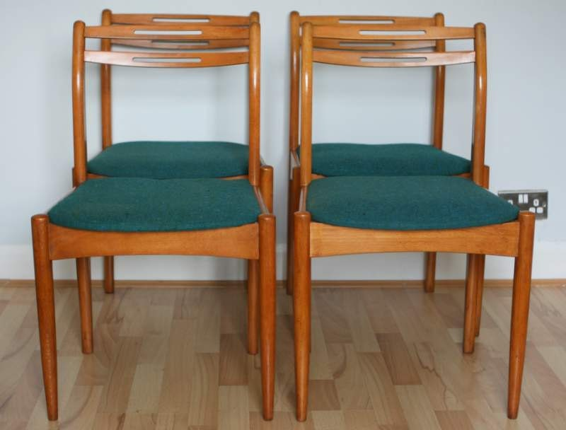 set of 4 beech mid century danish style dining chairs haute juice