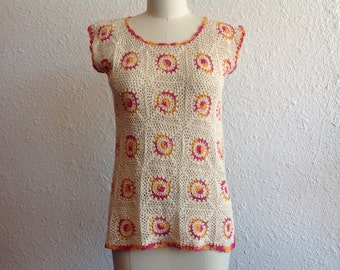 1970s cotton crocheted top