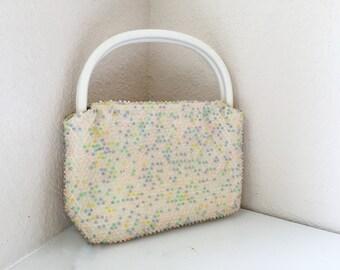 Vintage 50s Pastel Beaded Purse //1950s vintage pastel beaded purse
