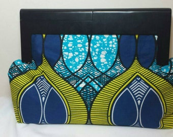 Wooden Frame/handles Ankara clutch/purse with free matching bangles.