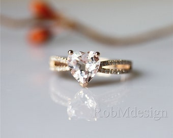 14K Rose Gold Ring around 1.9ctw Heart shaped Natural Morganite Ring Double Shanks Engagement Ring Gemstone Ring Morganite Engagement Ring