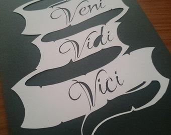 Veni vidi vici scroll paper cutting template